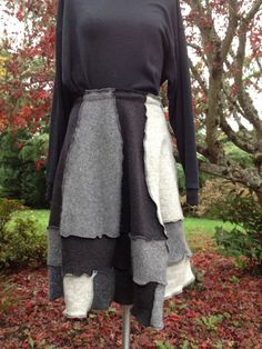 Wool Recycled Felted Sweater Skirt