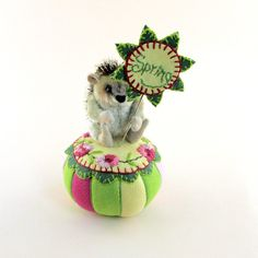 New Design OOAK by Janie Comito 2014! Jointed  Hedgehog &  Pin Cushion + Pin