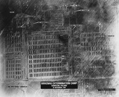 An Allied reconnaissance photograph of Auschwitz-Birkenau concentration camp complex, taken on November 29, 1944 and annotated by the CIA in 1978.
