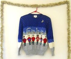 Carolers! Vintage Ugly Christmas Sweater Women Medium Wool Hand Embroidered
