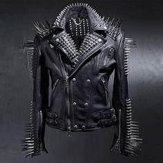 BytheR Men's Fashion Black Custom Stud Solid Leather Jacket  P000BFCX AU #BytheR…