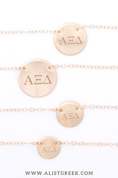 Engraved AXiD Greek Letter circle necklace in sterling silver, rose gold, gold and 14k solid gold from www.alistgreek.com! #circle #disc #necklace #sororitynecklace #customgift #personalized #handmade #custom #sororityjewelry #greekletters #sororityletters #loveyourletters #bidday #biglittle #axid #alphaxidelta Sorority Letters, Sorority Gifts, Disc Necklace, Circle Necklace, Sorority Big Little, Big Little Reveal, Alpha Xi Delta, Greek Jewelry, Party Plan