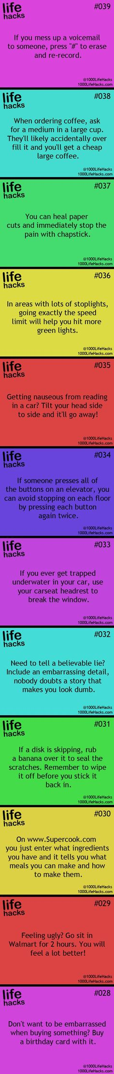 25 Useful Life Hacks, even though I don't think I'll be driving my car off a bridge into a body of water anytime soon :3