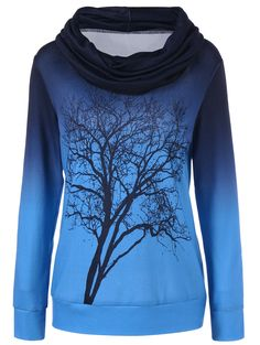 Cowl Neck Ombre Tree Print T-Shirt