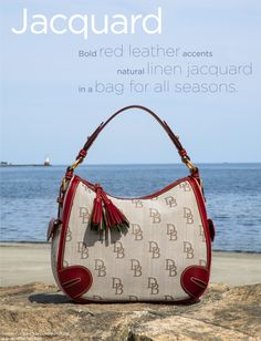 SUMMER ESSENTIAL - Our Florentine Jacquard Hobo is the perfect bag for summer: lightweight linen, bright leather trim and go-anywhere style. See more at: www.dooney.com/db/AOW071612JQ746-pin