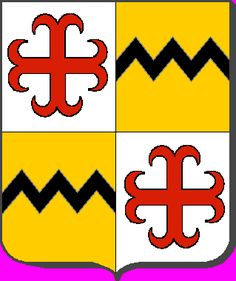 A modern representation of the arms of Larochette (also called de la Roche or von der Feltz), which quarter the arms of von Ruland, which are the same as that of Vavasour, being or, a fess dancetty sable.