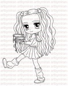 Digital Stamp - Smart Samantha, Digi Stamp, Coloring page, Printable Line art for Card and Craft Supply