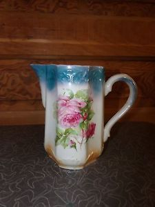 Antique Transferware Pink Rose Pitcher