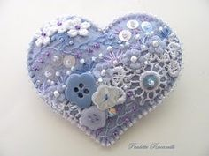 embroidered blue heart