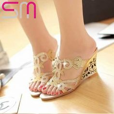 cb6ee0a7053 2015 Flower Cutout Wedges Summer Shoes Big Size 34-43 Fashion Women  Rhinestone Sandals High Heels Flip Flops Wedges Shoe