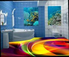 48.99$  Buy now - http://ali2g2.worldwells.pw/go.php?t=32703709268 - Creative 3D floor curve colorful 3d flooring bathroom self-adhesive waterproof 3d murals bathroom flooring
