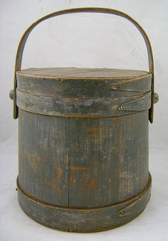 """19th c. Firkin with Original Blue Paint & Fingered Bands ~ from """"New Hampshire Antique Co-op"""" shop on Ruby Lane"""