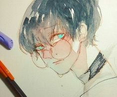 Image uploaded by Find images and videos about cute, drawing and japan on We Heart It - the app to get lost in what you love. Manga Watercolor, Watercolor Paintings, Character Illustration, Digital Illustration, Japan Illustration, Estilo Anime, Boy Art, Copics, Aesthetic Art