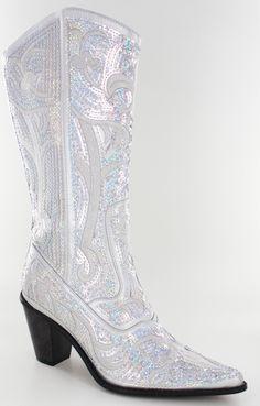 6742e857fce2 Helen s Heart Silver Sequins Cowboy Boots. Wedding Boots