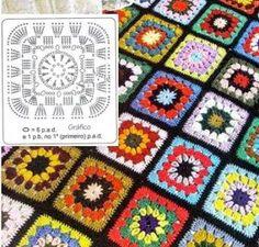 Uncinetto d'oro: Bellissima borsa a motivi! Crochet Stitches, Crochet Patterns, Granny Square Blanket, Instagram, Rolodex, Bed Covers, Blue Prints, Pattern, Crochet Pattern