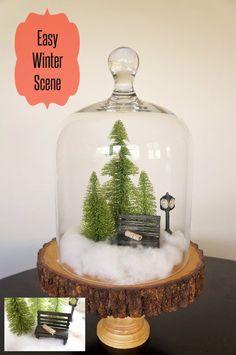 Easy Mini Winter Scene in a Glass Cloche - Pretty for Christmas Decor