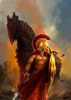 Achilles - the bravest, handsomest, and greatest warrior of the army of Agamemnon in the Trojan War; commanded 50 ships, each having 50 Myrmidons Greek And Roman Mythology, Greek Gods, Gods Of War, Trojan War, Trojan Horse, Roman Warriors, Greek Warrior, Spartan Warrior, Greek Art