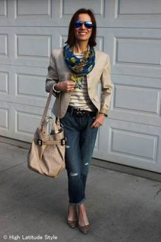 #fashionover40 #fashionover50 Ageless Style  Denim - example distressed denim for the mall or Casual Friday - Ageless Style is a weekly series on Wednesday @ High Latitude Style @ http://www.highlatitudestyle.com