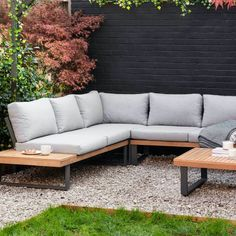 Outdoor Corner Sofa Set by The Forest & Co, the perfect gift for Explore more unique gifts in our curated marketplace. Corner Garden Seating, Built In Garden Seating, Garden Sofa Set, Corner Sofa Garden, Garden Bed, Corner Patio Ideas, Corner Deck, Side Garden, Outdoor Sofa Sets