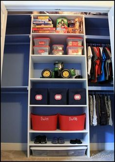 I think I want to redo my boys closet and just add more shelves so I can do this. It's amazing what a can of paint can do for a small space. If it's painted maybe I'll be tempted to go into the large boys closet that a 2, 4 and 7 year old share and attempt to clean and organize it, putting everything up high for a few more years of course.