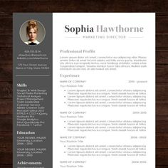 resume template with photo professional modern cv word mac or pc free cover letter teacher grey instant download the sophia