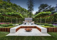 Stylish Modern Garden And Terrace Design By Nathan Burkett Modern Landscaping, Backyard Landscaping, Backyard Trees, Landscaping Software, Landscape Architecture, Landscape Design, Contemporary Garden Design, Fire Pit Seating, Ground Cover Plants