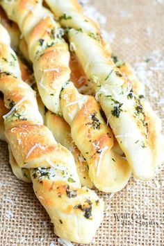Homemade Parmesan Grlic & Herb Breadsticks | from willcookforsmiles.com