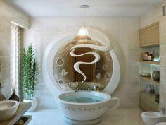 Rien de mieux qu'un bon café pour démarrer la journée!  Et si on le prend dans son bain, c'est encore mieux.    Une baignoire pour le moins insolite qui s'accorderait à merveille avec ce lavabo :  http://www.sdebain.com/salle-de-bain/lavabos/vasques/autres-formes/vasque-design-a-poser-en-resine-bicolore-noir-et-blanc