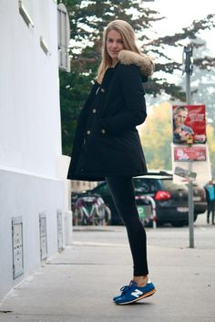 Woolrich Arctic Parka. Love the monochrome with bright retro sneakers!