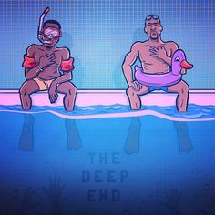 """Hope Lebron is a good swimmer cus with Kyrie out, he's officially in """"The Deep End"""".. / art by @purehoop  #consciousbasketball #purehoop #splashbrothers #stephcurry #claythompson"""