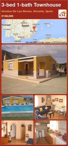 Townhouse for Sale in Hondon De Las Nieves, Alicante, Spain with 3 bedrooms, 1 bathroom - A Spanish Life Valencia, Portugal, Alicante Spain, Open Fires, Family Bathroom, Double Bedroom, Townhouse, Swimming Pools, Mansions