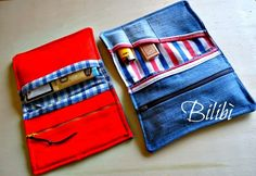 Porta tabacco, nuova versione. Refashion, Sewing Hacks, Fun Crafts, Upcycle, Recycling, Card Holder, Wallet, Inspiration, Fabric