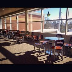 A nice warm spot to study at the SCSU library. via Instagram.