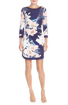 Vince Camuto Floral Jersey Shift Dress (Regular & Petite) available at #Nordstrom