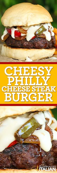 Cheesy Philly Cheesesteak Burger is a fabulous gourmet burger loaded with steak flavor and topped with sauteed peppers, caramelized onions and the most delicious smoked provolone cheese sauce you have ever eaten. It's an easy recipe with amazing flavor.