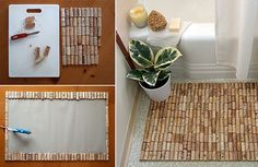 Unusual bath mat made of upcycled wine corks!