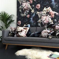 Dark Floral II Black Saturated on Silk Satin Cushion (90 x 50 cm) - by Ellie Cashman Design