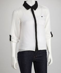 Take a look at this Ivory & Black Button-Up by Grass on #zulily today!