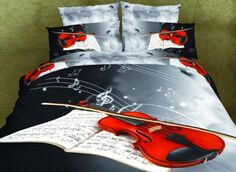 Ammybeddings 3D Bedding Sets with Duvet Cover+Flat Sheet+2 Pillowcase,Retro Style Violin Print 4-Piece Polyester 3D Polyester Duvet Cover Sets,Twin/Full/Queen/King Size (Queen) -- Awesome products selected by Anna Churchill