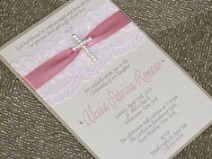 CHRISTINA: Pink Lace Baptism Invitation, Christening Invitation with Crystal Cross, Religious Invitation Party Invitations Kids, Christening Invitations, Baptism Invitations, Communion Invitations, Christening Party, Baptism Party, Baptism Ideas, Ideas Bautizo, First Communion Cards