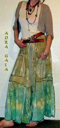 AuraGaia Tyra~ Skorts Skirt Pant Poorgirl Uber Wide OverDyed Upcycled XS-4X Plus