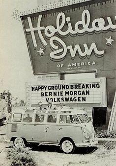 Vintage Holiday Inn VW B&W #volkswagen bus #vwbus | pinned by www.wfpcc.com