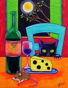 """Cat and Wine and Cheese"" par Lisa Nelson"