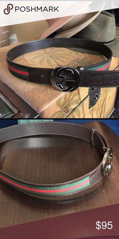 Authentic Gucci belt. Picture receipt available. Classic Gucci logo belt.  Size :95cm Gucci Accessories Belts