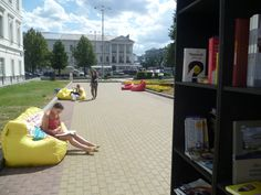 This free outdoor library in Yekaterinburg, Russia opens in the city center every summer. Those comfy-looking sack-chairs are a seriously good idea. [Photos via]