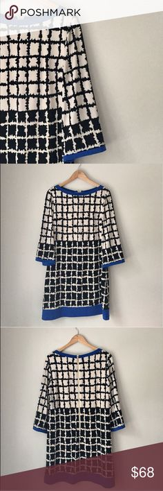 Eliza J. Abstract Printed Shift Dress Size 14 Gorgeous cobalt/ecru/black square abstract printed dress with a rear exposed gold Zipper by Eliza J. Size 14. Excellent condition. Eliza J Dresses