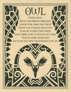 Owl Prayer Poster Book Of Shadows Page Wiccan Pagan Witch Shaman Totem Magick, Witchcraft, Animal Spirit Guides, Owl Eyes, Pagan Witch, Witches, Owl Always Love You, Nocturne, Book Of Shadows