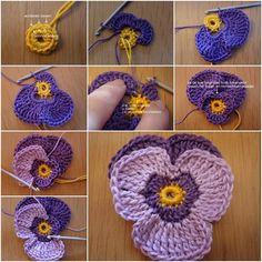Come Crochet Violet Fiore modello (tutorial dettagliato) - istruzioni passo-passo si trovano sopra a FabArtDIY
