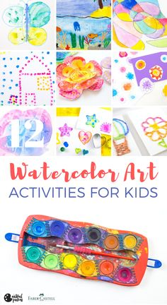 12 awesome watercolor art activities for kids that use the simplest of art materials. Plus, get a free printable guide to the art projects! Painting Activities, Art Activities For Kids, Creative Activities, Preschool Art, Creative Kids, Summer Activities, Kids Crafts, Watercolor Circles, Watercolor Paint Set
