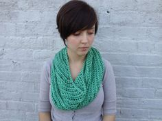 Mint green braided cowl by KnitPrayLove on Etsy, $45.00